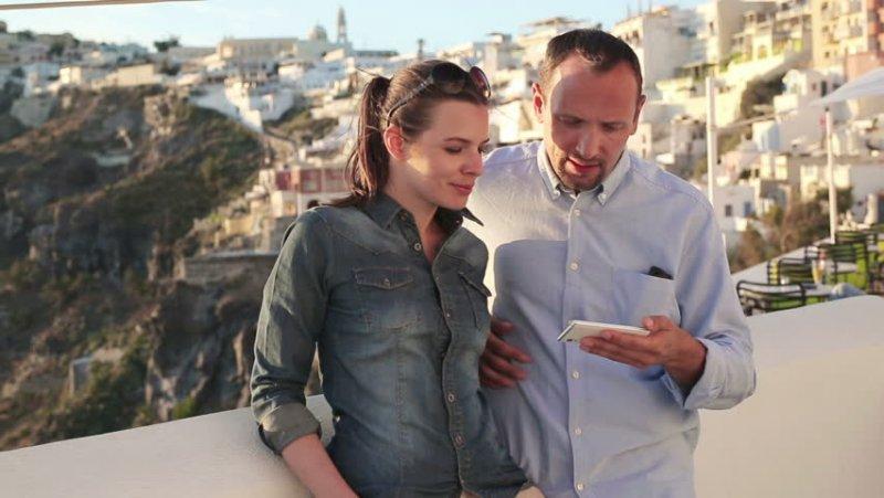 Usando o celular na Grécia