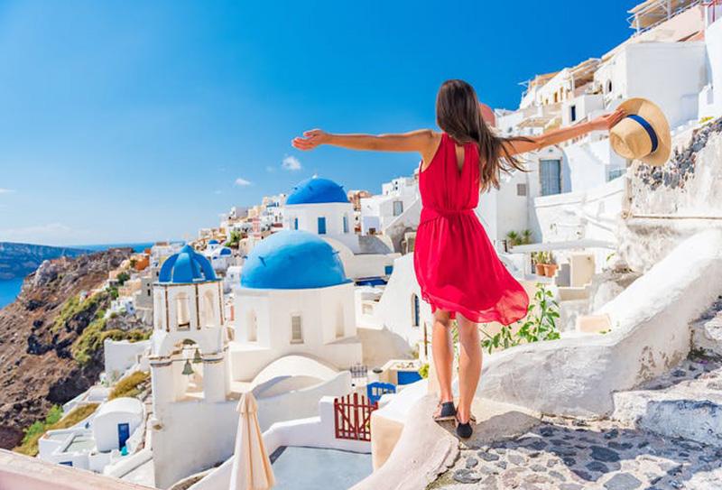 Santorini, na Grécia